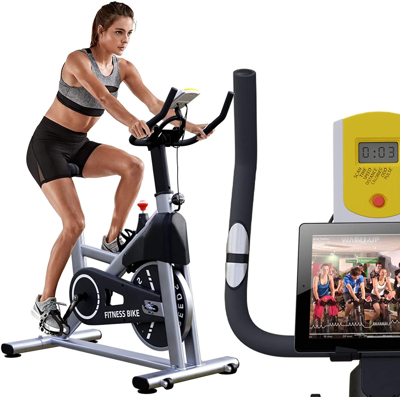 Exercise Bike 18lb Flywheel With Ipad Mount + Padded Seat Cushion $149.97