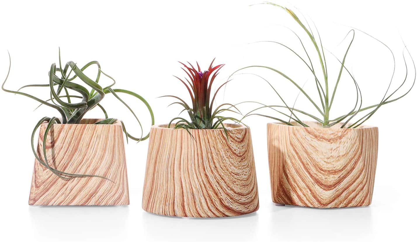 Set of 3 Brown Wooden Patterned Plant Pots $13.19