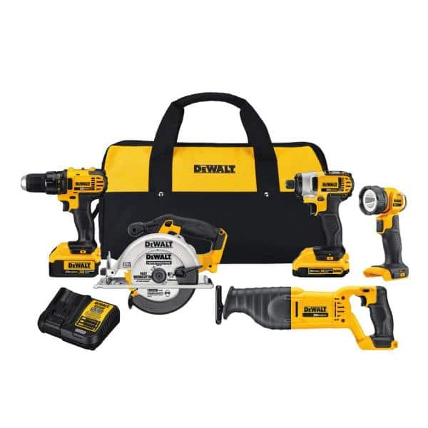 DEWALT 20-Volt MAX Lithium-Ion Cordless Combo Kit with 2 Ah and 4 Ah Batteries and Tool Bag with Free 4.0 Ah Battery (4-Tool + light) $299