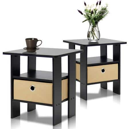 2-Piece Furinno Petite End Table Bedroom Night Stand (Espresso) for $38 at Walmart
