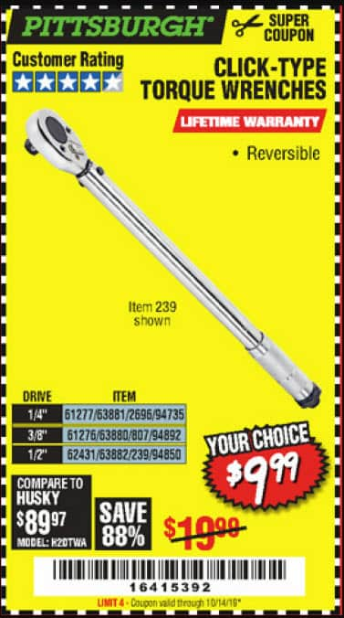 Harbor Freight PITTSBURGH multi sized Drive Click Type Torque Wrench $9.99