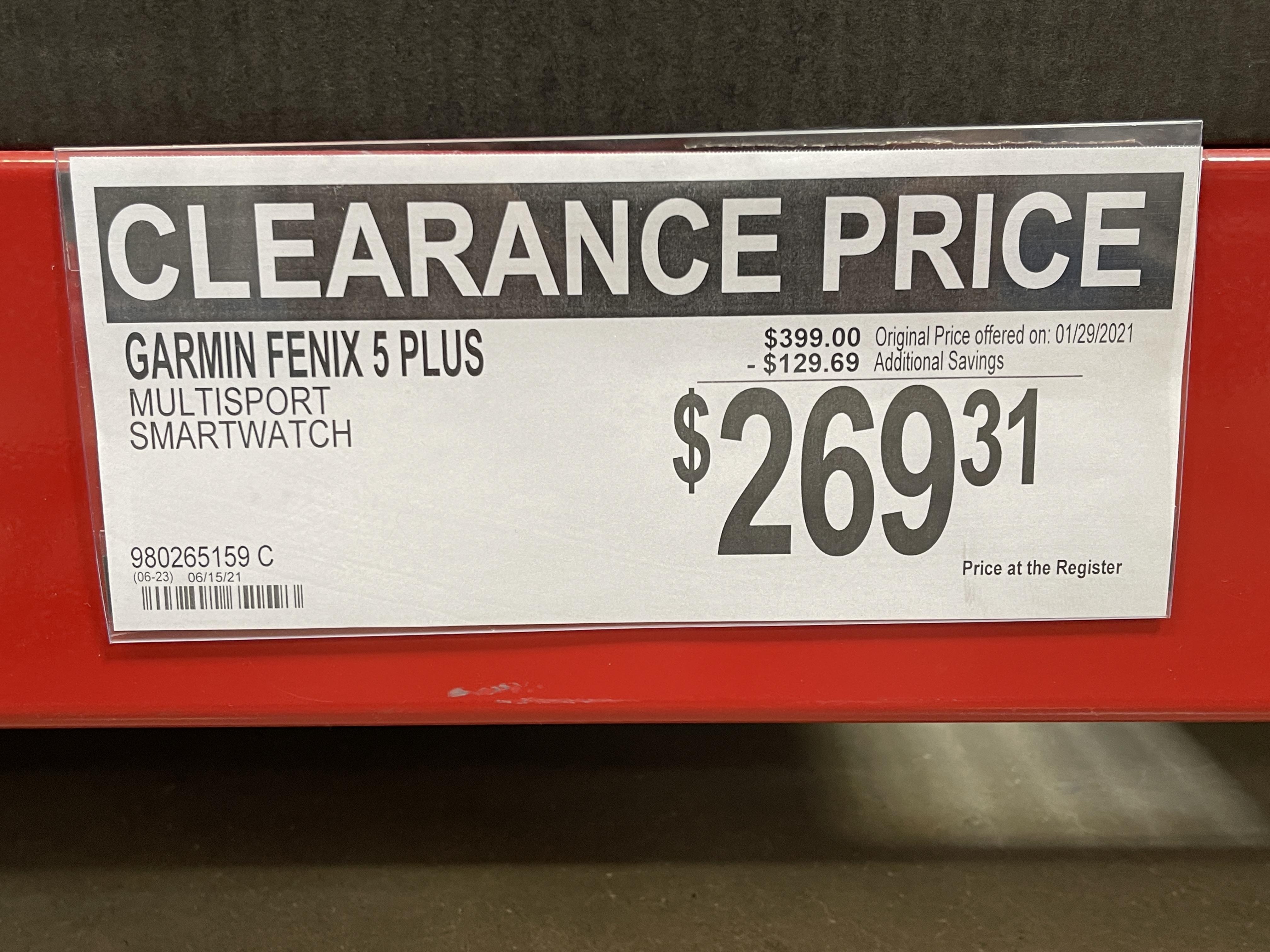 Garmin Fenix 5 Plus Multisport GPS Watch...Sams Club...$269.31....Extreme YMMV
