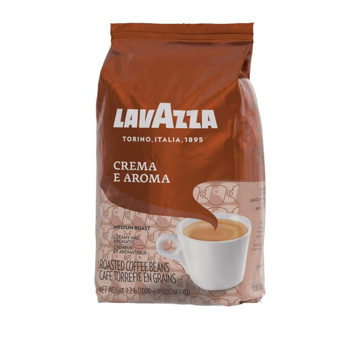 Lavazza Crema e Aroma Whole Bean Coffee Blend, Medium Roast, 2.2-Pound Bag $12.99 + FS w/ Prime @ Amazon