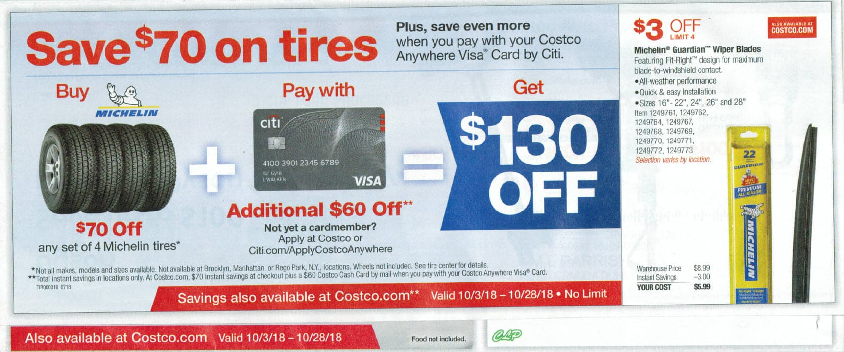 Costco Michelin Tires Pay By Citi Visa Total 130 Off