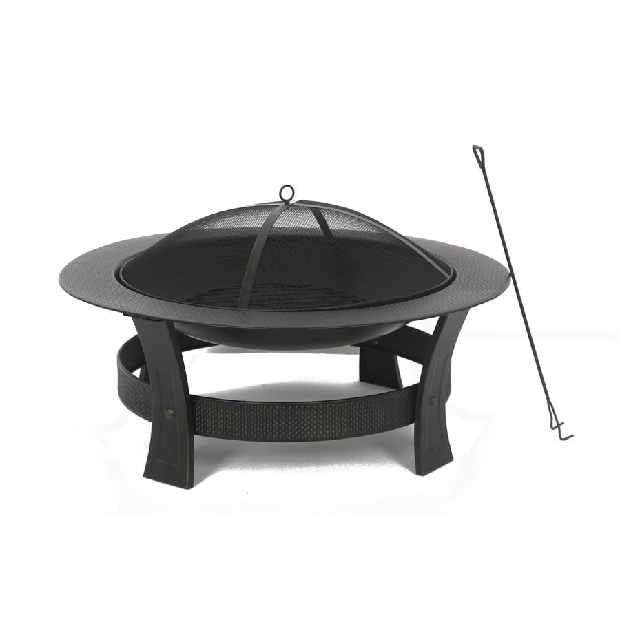 Garden Treasures 35-in W Black/High Temperature Painted Steel Wood-Burning Fire Pit - $29.00 - LOWES