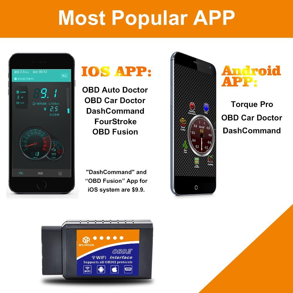 wsiiroon Car WiFi OBD 2, Wireless OBD2 Car Code Reader Scan