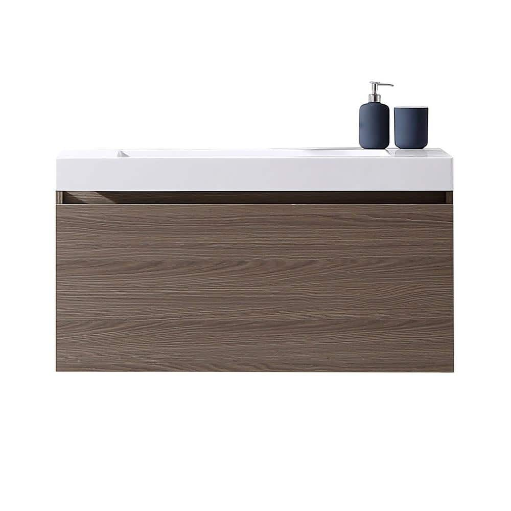 Virtu USA  Zuri 39 in. W x 19 in. D Vanity in Grey Oak with Poly-Marble Vanity+Free store pickup or $55 ship to home.