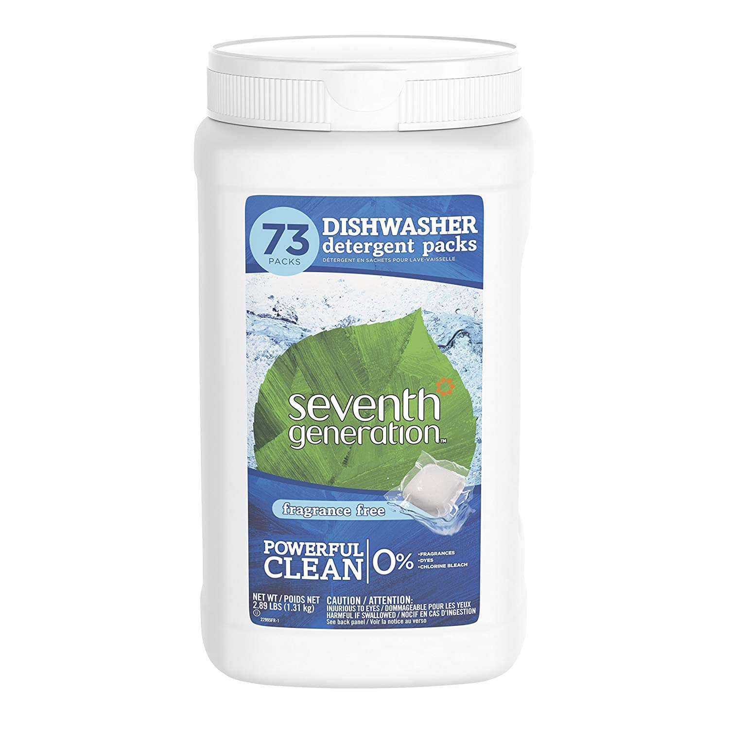 Seventh Generation Dishwasher Detergent Packs, 73 count 25% S&S $11.89