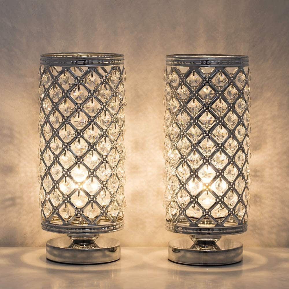 Crystal Table Lamps - Set of 2 with Clear Crystal Lamp Shade $30.12