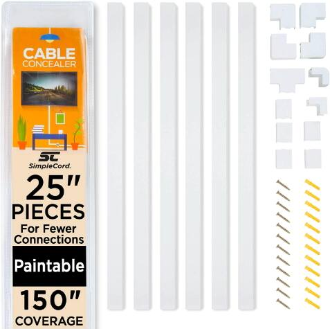 On-Wall Cord Cover Raceway Kit - Cable Management System $15.9