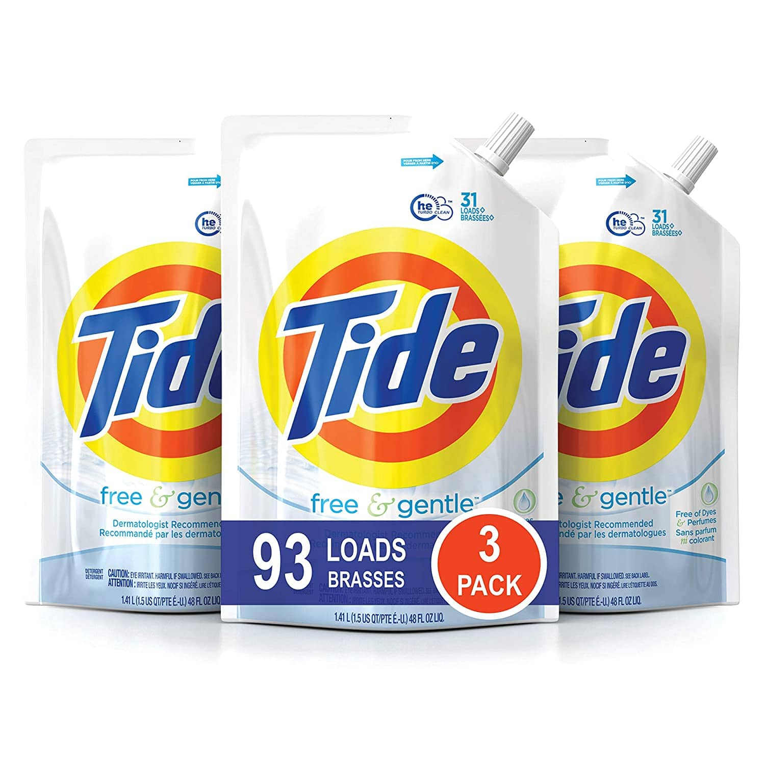 3-Pack 48oz. Tide HE Laundry Detergent Pouches (Free & Gentle) x2 $30.98