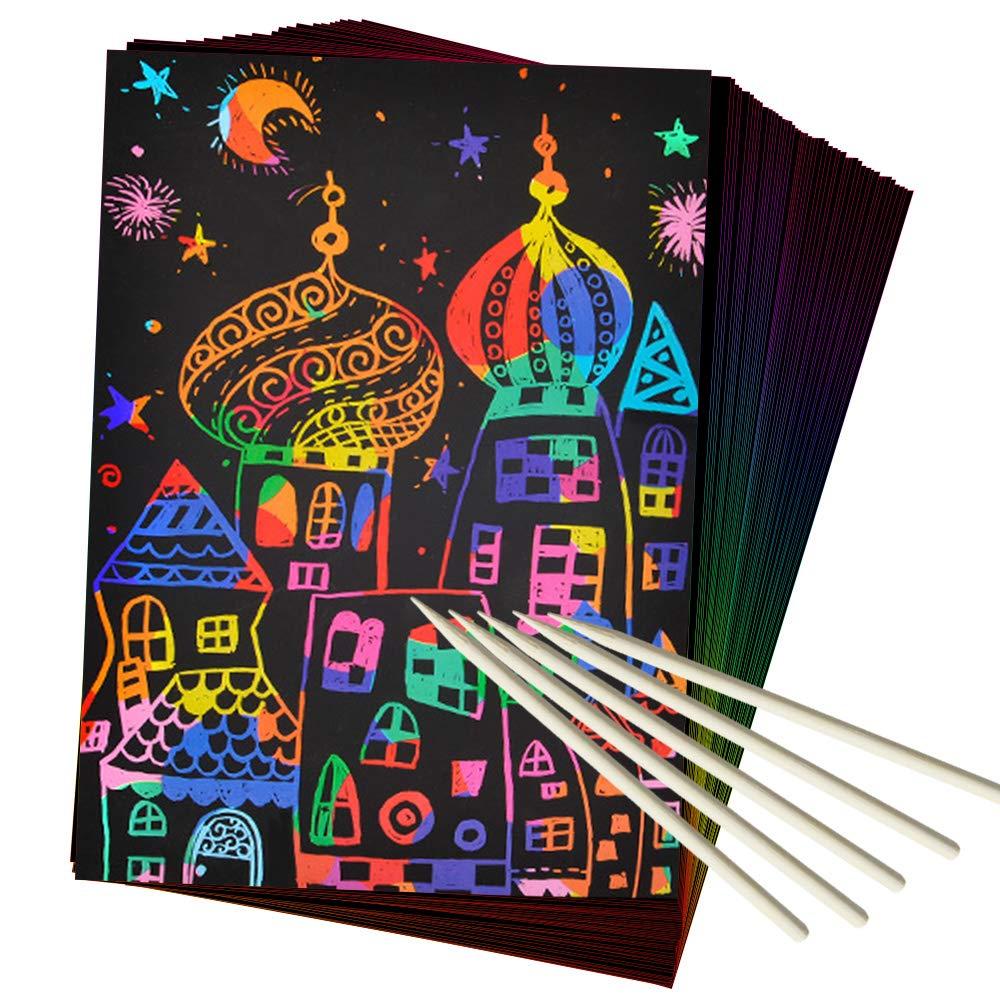 50 Piece Rainbow Magic Scratch Paper for Kids $5.93