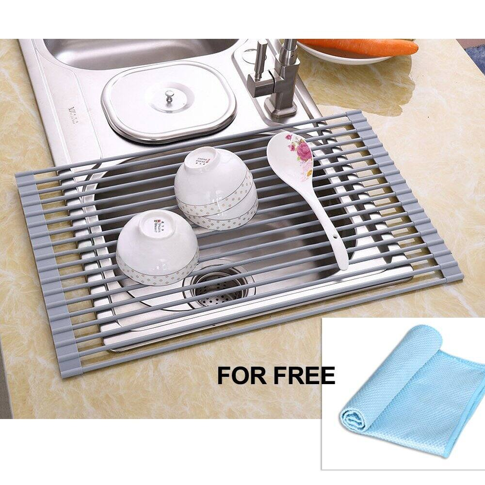 Over-the-sink Dish Drying Rack + Drying Mat, Cloth $12.11
