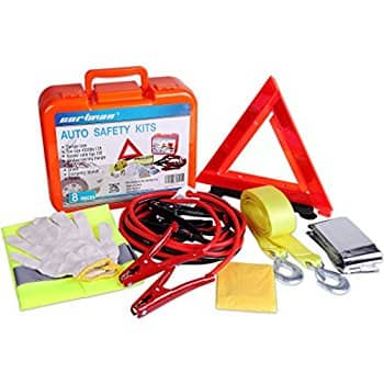 CartmCartman Roadside Assistance Auto Emergency Kit Set, Booster Cables 6Ga + Tow Belt 4500Lbs, in Carry Box + Trunk Organizer FREE $25.99