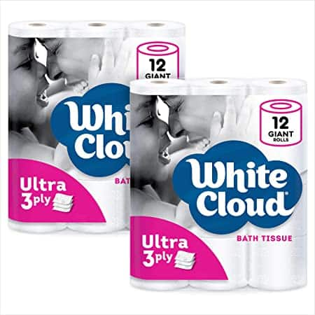 White Cloud Ultra Soft & Thick 3-Ply Toilet Paper – 24 Total Giant Rolls, 231 Sheets per Roll, 12 Rolls (Pack of 2)~$15 @ Amazon~Free Prime Shipping!