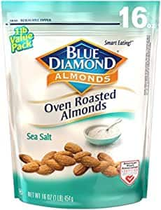 Blue Diamond Almonds Oven Roasted Snack Nuts, Sea Salt, 16 Oz Resealable Bag (Pack of 1)~$4.34 After S&S @ Amazon~Free Prime Shipping!