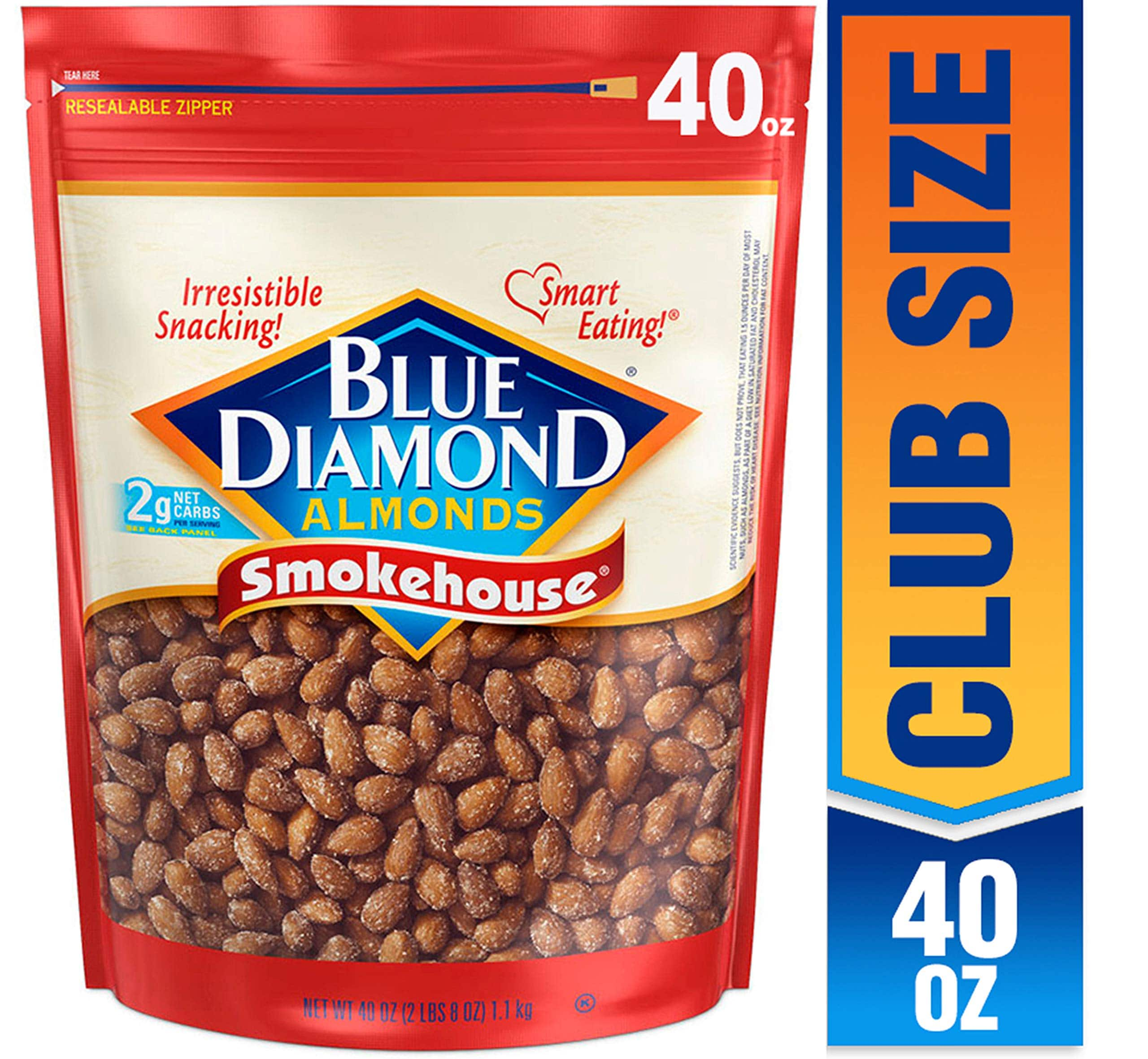 Blue Diamond Almonds Smokehouse Flavored Snack Nuts & More, 40 Oz Resealable Bag (Pack of 1)~$9.48 With S&S @ Amazon~Free Prime Shipping!