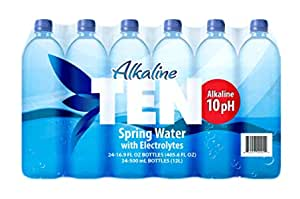 TEN Alkaline Spring Water, pH 10, High in Electrolytes, 16.9 Ounce Bottle (Pack of 24)~$15 @ Amazon~Free Prime Shipping!