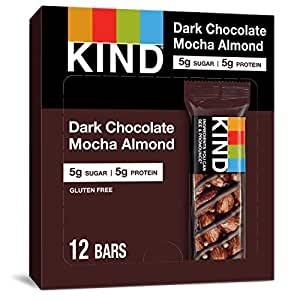 KIND Healthy Snack Bar, Dark Chocolate Mocha Almond, 5g Sugar | 5g Protein, Gluten Free Bars, 1.4 OZ, 12 Count~$10.67 & More @ Amazon~Free Prime Shipping!