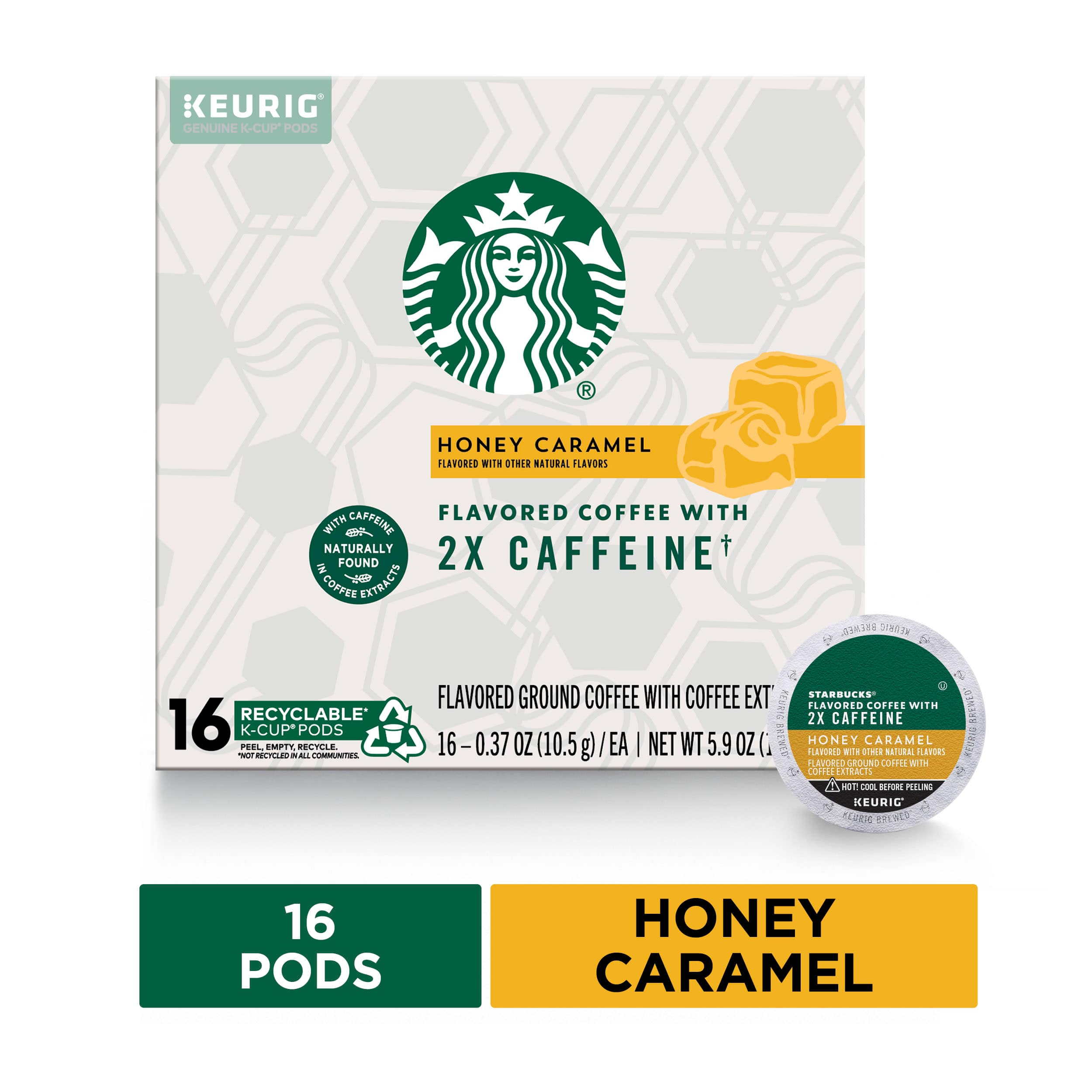 Starbucks Flavored K-Cup Coffee Pods with 2X Caffeine~Honey Caramel for Keurig Brewers~1 box (16 pods) $3.25 @ Walmart B+M~YMMV!