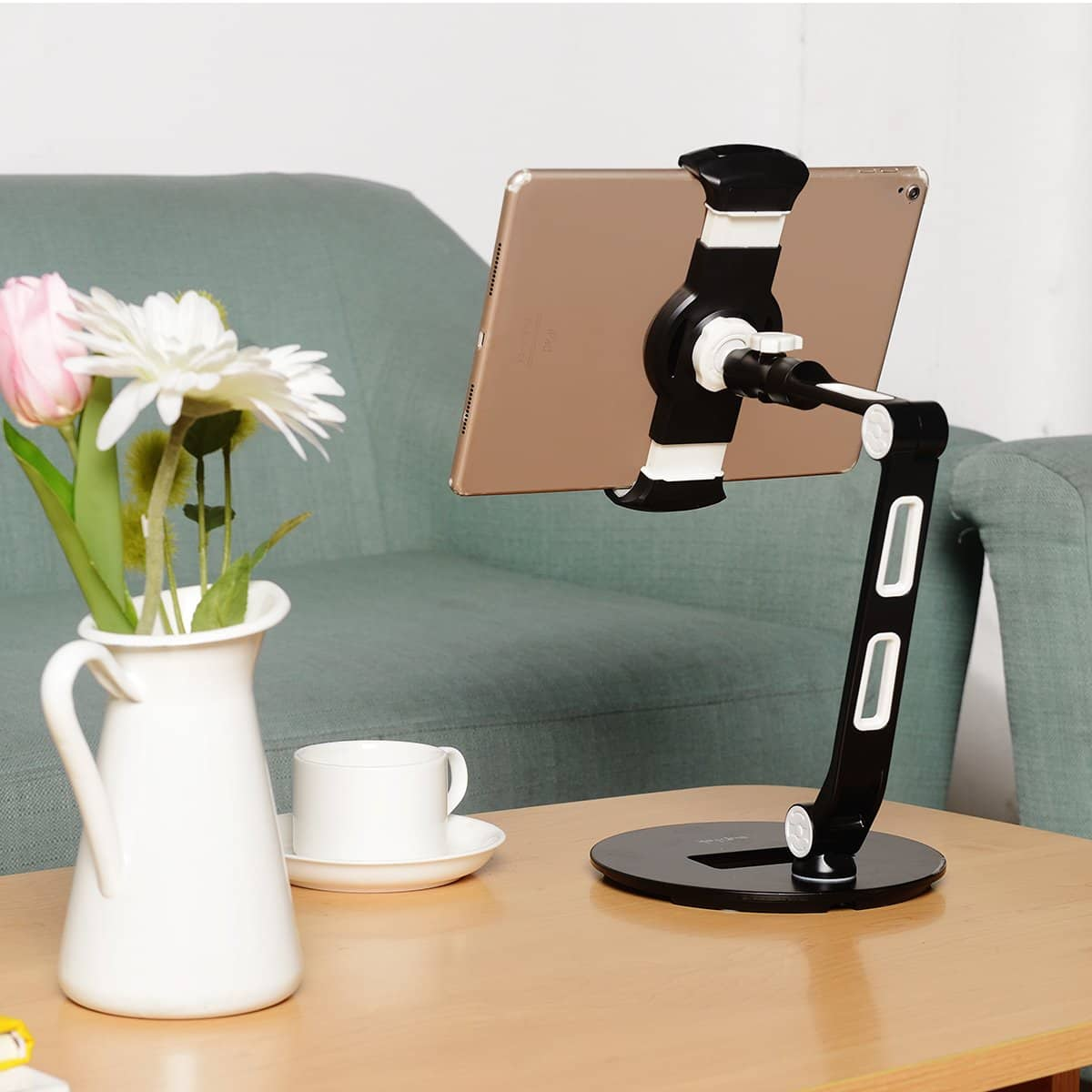 Suptek Aluminum Tablet Desk Stand for iPad, iPhone, Samsung, Asus and More 4.7-11 inch Devices, 360° Flexible Cell Phone Holder Mount, Good for Bed, Kitchen, Office (YF208D) $17.99