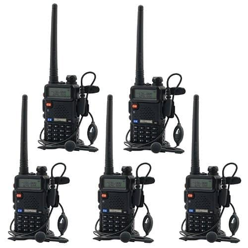 BaoFeng UV-5R UHF VHF Dual Band Two Way Radio Walkie Talkie with 5 Earpieces + 1 Programming Cable, 5 Pack $95.19
