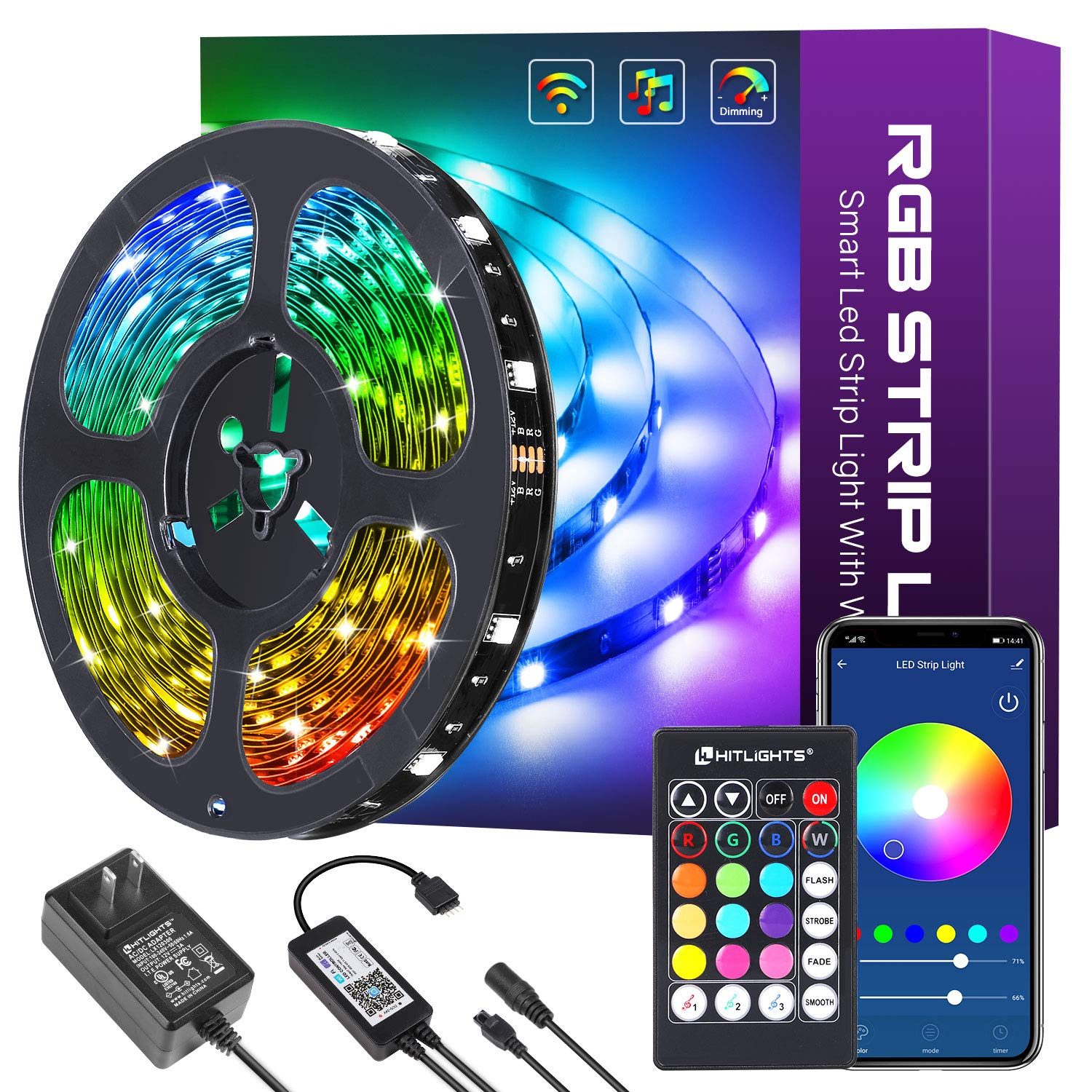 32.8ft Smart LED Strip Lights, HitLights LED Light Strips 5050 Color Changing Tape Lights Works with Alexa, Google Home Control Music Sync RGB Strip Lights with Remote $28.05