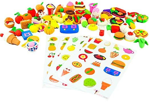 60 cute Kids food erasers (party favors or classroom prize?) $8.99 on Amazon