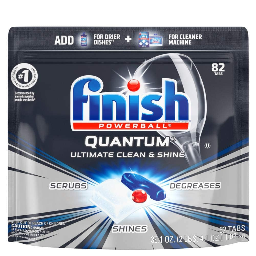 82ct Finish Quantum Dishwasher Detergent - Powerball Ultimate Clean & Shine - Dishwashing Tablets - Dish Tabs @ Amazon $14.33