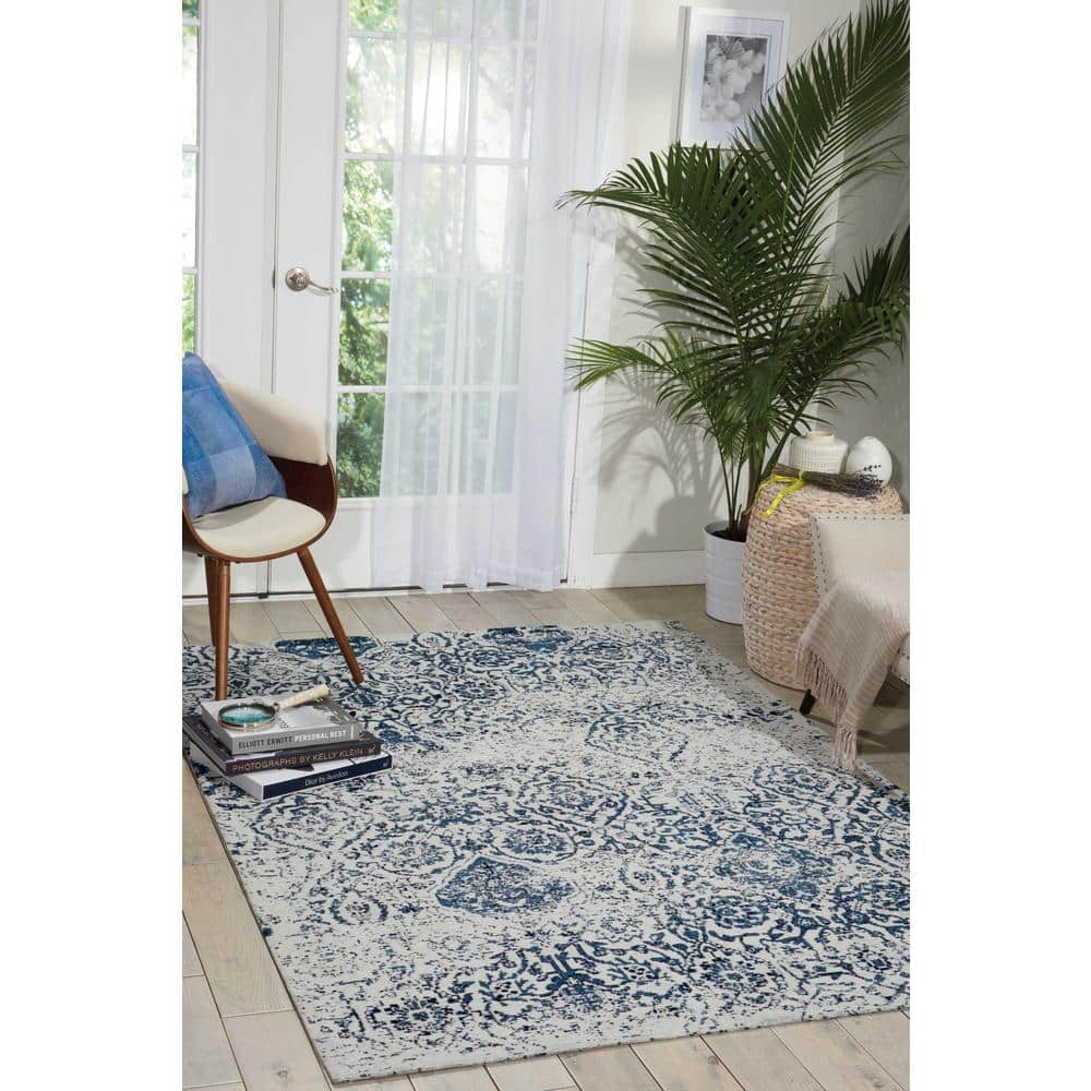 20% Off Nourison Area Rugs: Damask Ivory/Navy 2' x 4' Area Rug $23.9