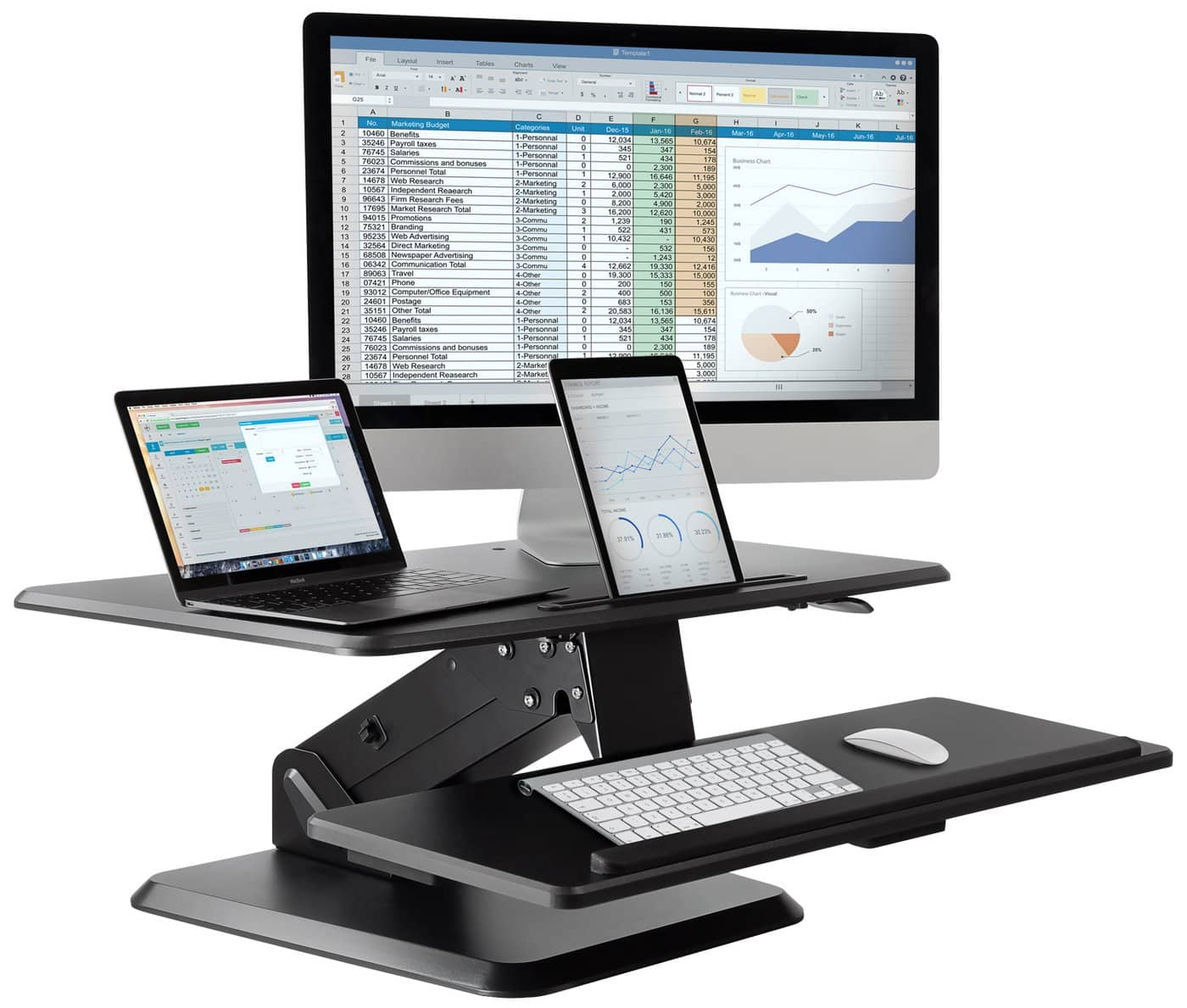Mount-It Standing Desk Converter w/ Gas Spring Assist $159.99