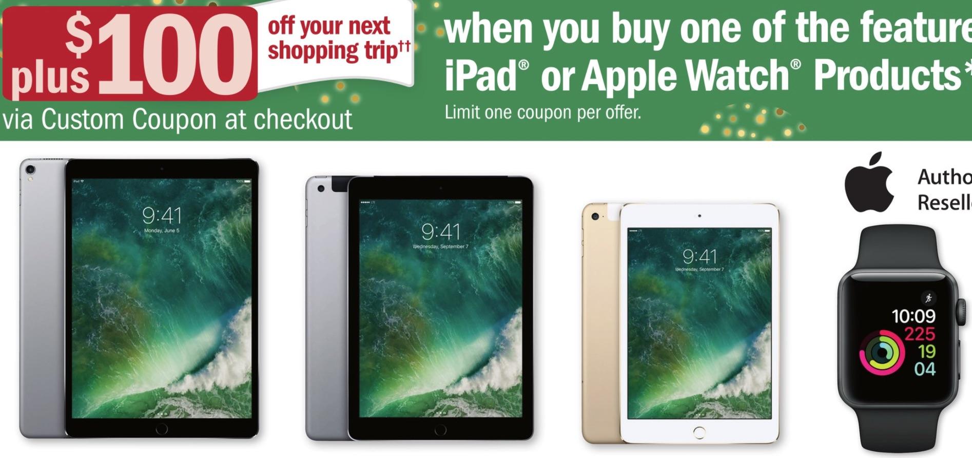 Meijer iPad $329+$100 Coupon - Apple TV 4K $234+$100 Coupon - Apple Watch $229+$100 Coupon