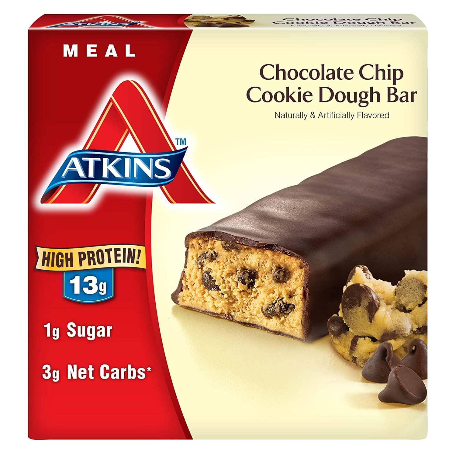30-Count Atkins Meal Bar (Chocolate Chip Cookie Dough) $30.77 (or less) with 30% coupon + S&S at Amazon