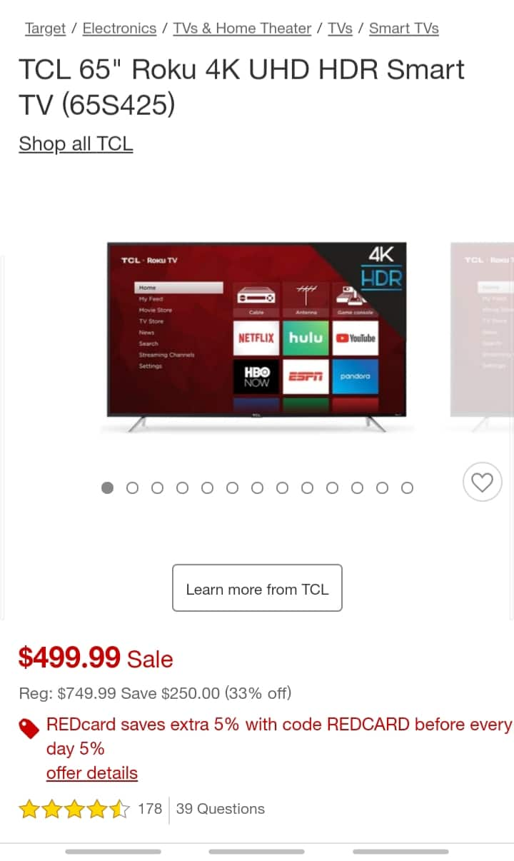 """TCL 65"""" 65S423 $451.24 With RedCard and Promo Code; In Store Pick Up YMMV"""