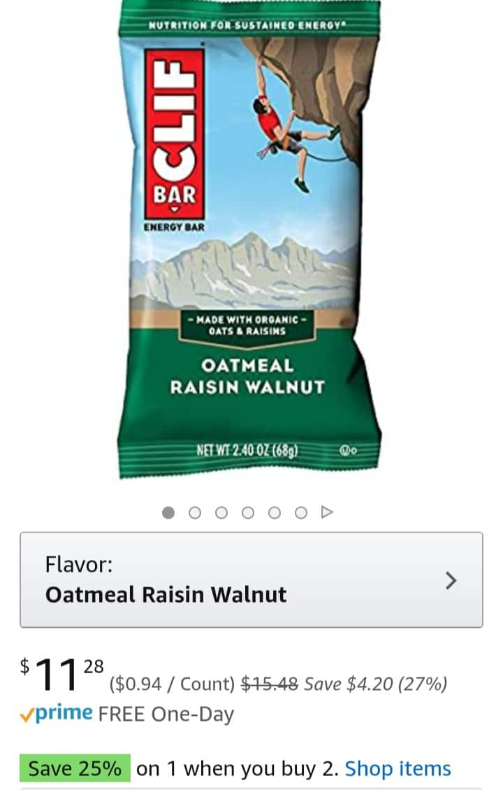 CLIF BAR - Energy Bars - Oatmeal Raisin Walnut  25% off for 2 Boxes (24 Bars)+ S/S $16.36