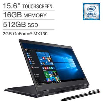 Costco (OCT) - Lenovo Flex 15.6 / i7-8550u / 4K UHD 2 in 1 / 16G / 512G / 2G MX130 GeForce $999.99