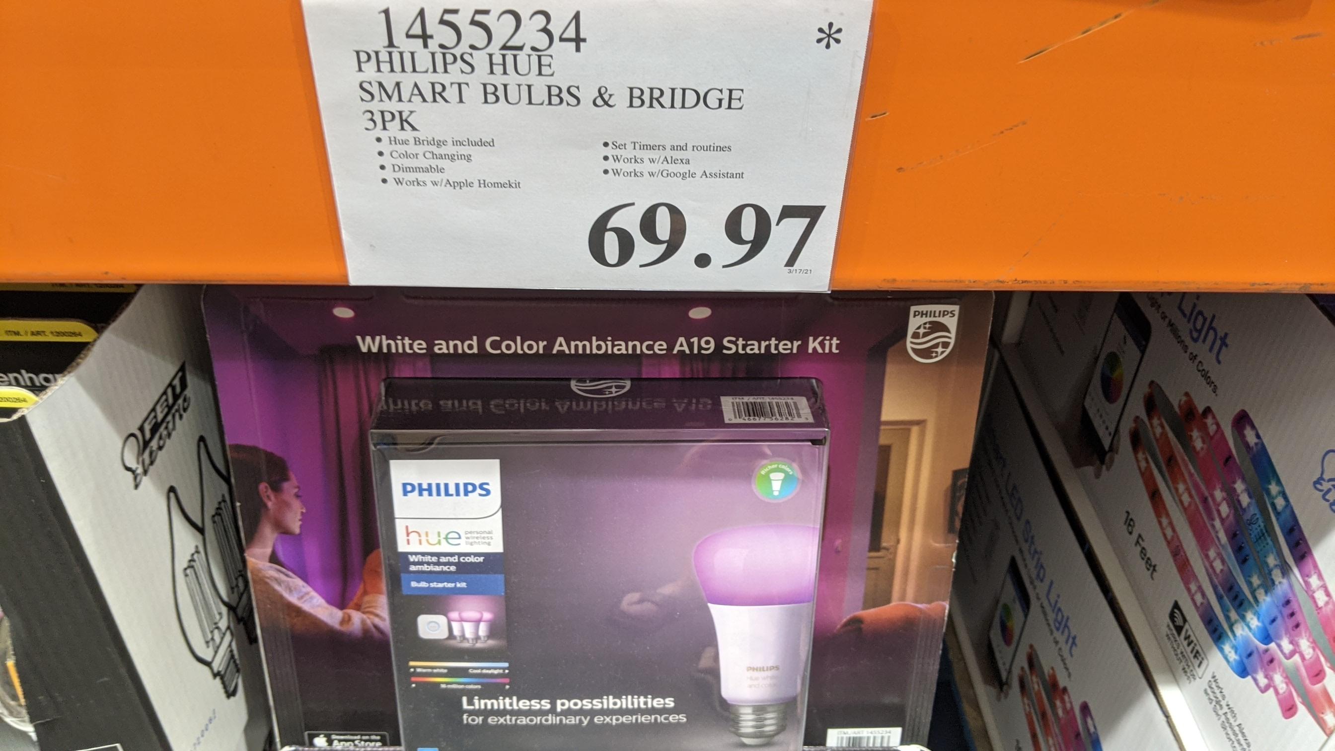 Phillips Hue starter kit (3 bulbs and bridge) $69 YMMV - In store only