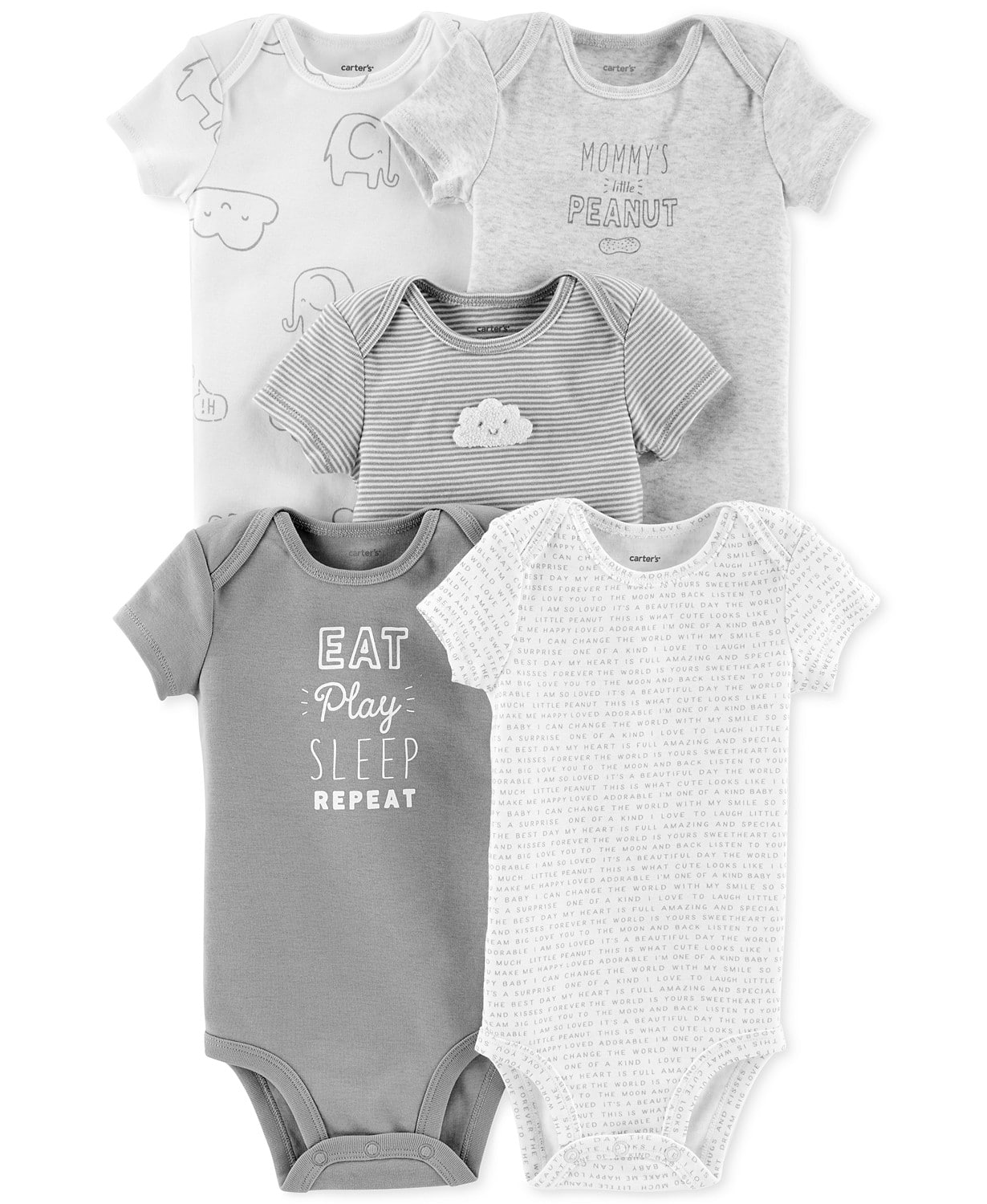 5999ae3ff 5-Pack Carter's Baby Boys/Girls Printed Cotton Bodysuits (various ...