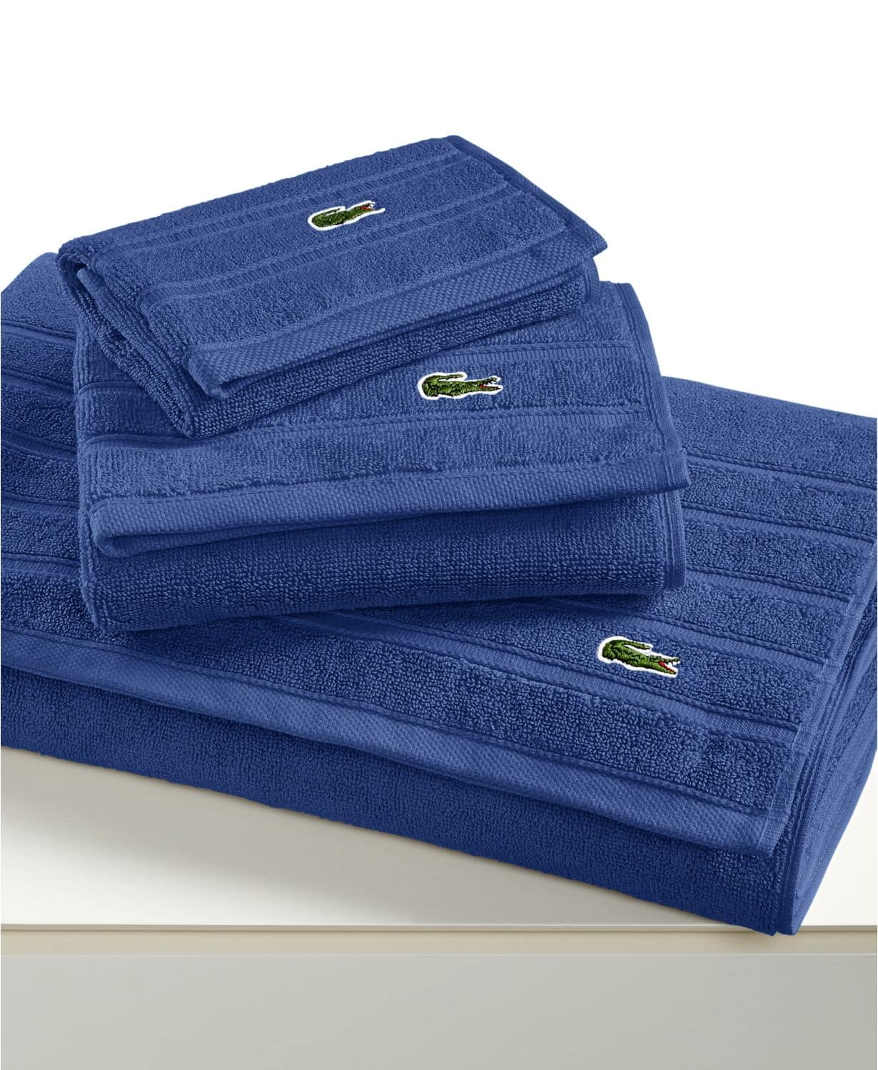 """Lacoste Croc Solid 13"""" Square Washcloths $3.50,  Lacoste Croc Solid 16"""" x 30"""" Hand Towel $5.75. Free Ship To Store/ Store Pick Up."""