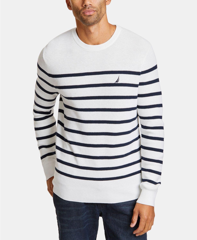 Macys: Nautica Men's Breton Striped Sweaters (Marshmallow Heather or Deep Anchor Heather)  $15.96