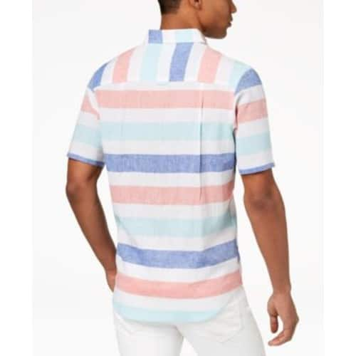 Men's Club Room Linen/Cotton Short Sleeve, Button Shirts - Wide Striped or Dip Dyed $13.93 at Macys. Free Ship to store/Store Pick Up.