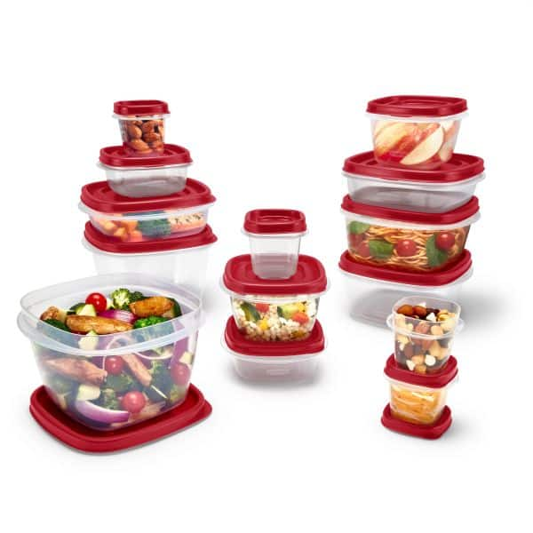 Rubbermaid Easy Find Vented Lids Food Storage Containers, 24-Piece Set Plus Bonus, Racer Red $9.98 at Walmart