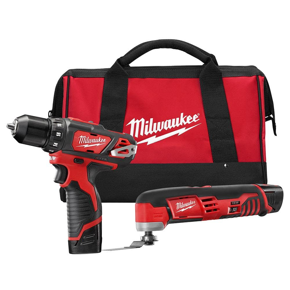 Milwaukee M12 12-Volt Lithium-Ion Cordless Drill Driver/Multi-Tool Combo Kit (2-Tool) with (2) 1.5 Ah Battery and Tool Bag $129 at Home Depot.