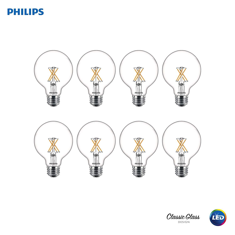 Philips 536557 LED Dimmable G25 Clear X-Filament Light Bulbs: 350-Lumens, 2700-Kelvin, 40-Watt Equivalent, Soft White, E26 Medium Screw Base, 8 Pack $18.73