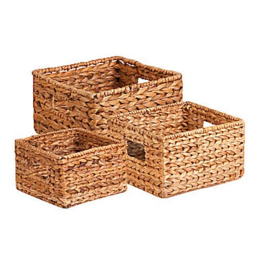 Honey Can Do 3-Piece Nesting Water Hyacinth Basket Set $16.99 at Macys. FREE Shipping
