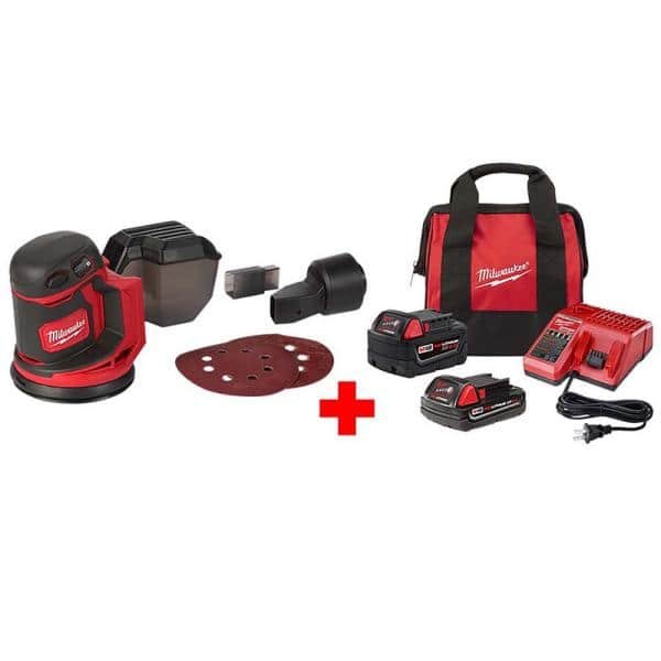Milwaukee M18 18-Volt Lithium-Ion Cordless 5 in. Random Orbit Sander with One 5.0 Ah & One 2.0 Ah Battery, Bag & Charger $179 at Home Depot.