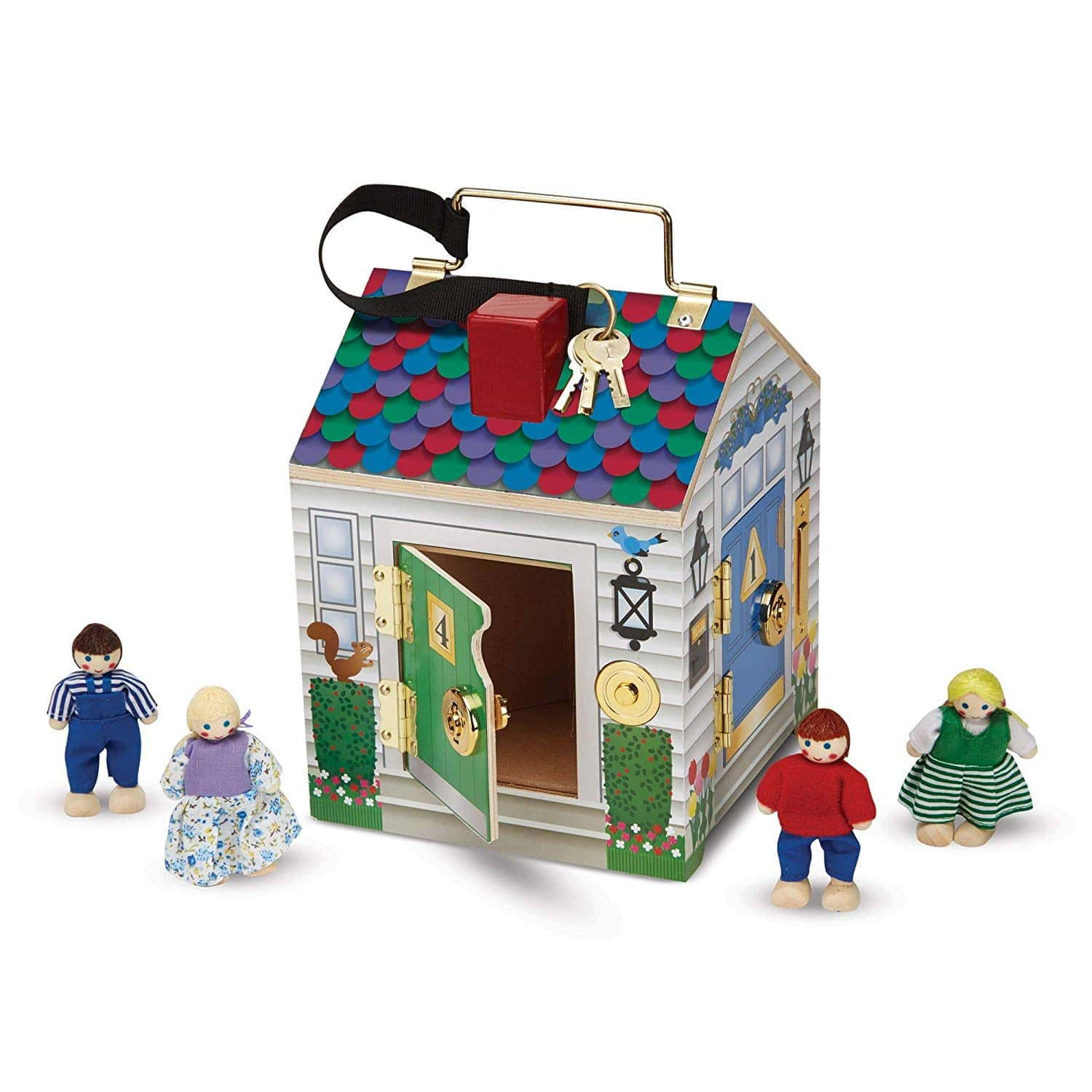 Melissa & Doug Take-Along Wooden Doorbell Dollhouse with Doorbell Sounds, Keys, 4 Poseable Wooden Dolls $15.99(47% off) at Amazon.