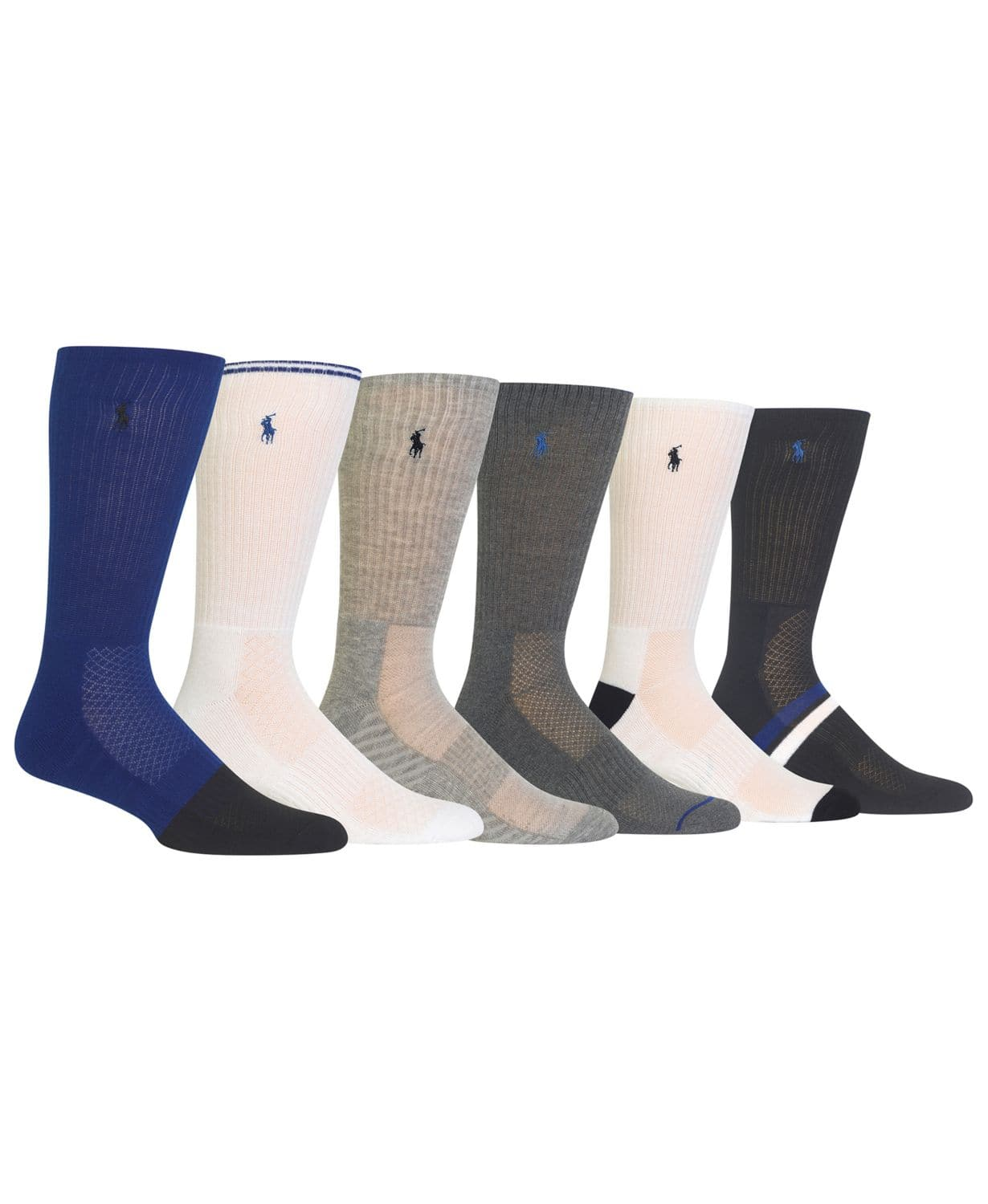 Polo Ralph Lauren Men's Big & Tall 6-Pk. Athletic Textured Crew Socks  **NO LONGER AVAILABLE**