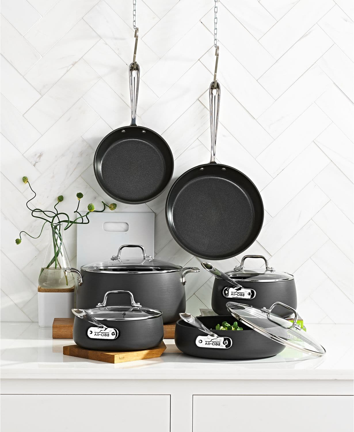 "All-Clad Hard-Anodized 10-Piece Cookware Set + 15"" Oval Baker & Pot Holder Set $319.99 at Macys. Free Ship."