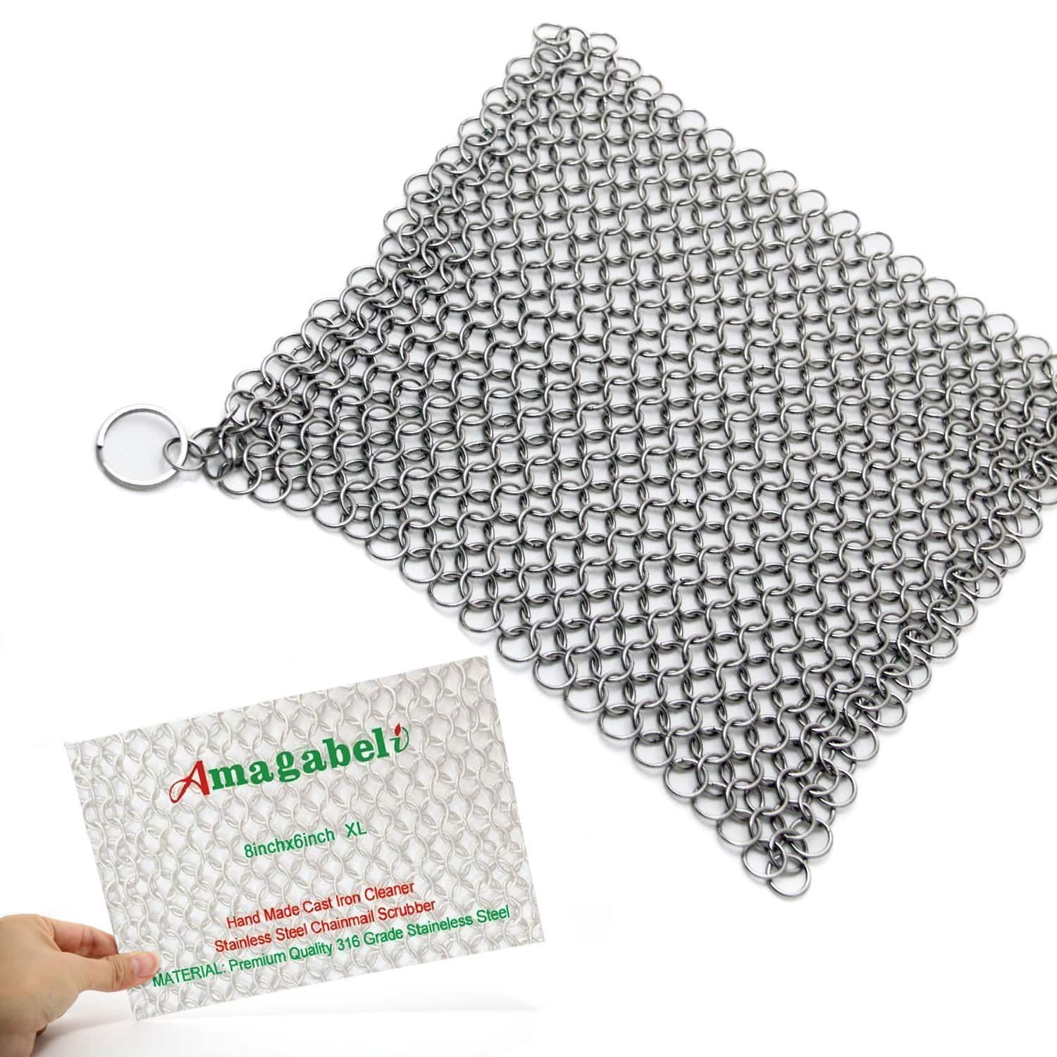 """8""""x6"""" Stainless Steel 316L Cast Iron Cleaner Chainmail Scrubber - $6.79 (AC) @ Amazon"""